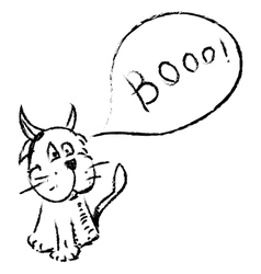 Cat with funny horns and speech bubble vector image