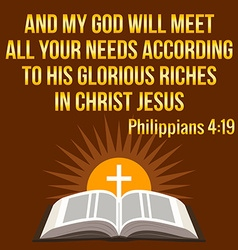 Christian motivational quote And my God will meet vector image