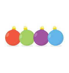 christmas balls isolated on white vector image