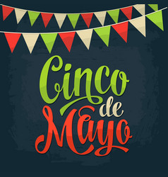 Cinco de mayo lettering and garland color vector