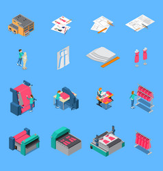 clothes factory isometric icons set vector image