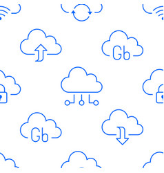 cloud data storage seamless pattern with line vector image