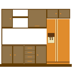 Color silhouette of kitchen cabinets with fridge vector