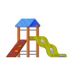 Colorful wooden slide with climbing wall and vector