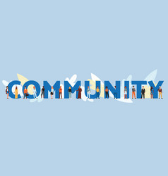 community banner - cartoon people standing near vector image