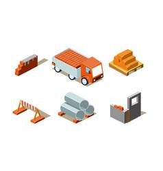construction buildings process industrial vector image