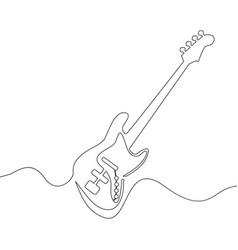 Continuous line drawing of electric guitar vector