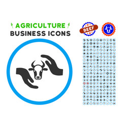 cow protection hands rounded icon with set vector image