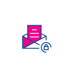 crypted mail thin line color icon icon for web vector image
