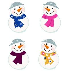 cute snowmen collection vector image