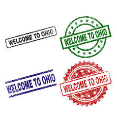 damaged textured welcome to ohio seal stamps vector image