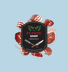 Design template for meat marketbutcher shop vector