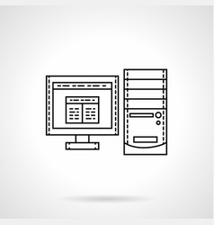 desktop computer flat line icon vector image vector image
