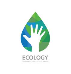 ecology human hand concept business logo design vector image