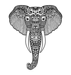 entangle stylized elephant hand drawn lace vector image