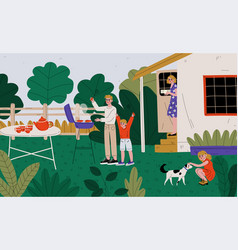 family on bbq party on backyard father and vector image
