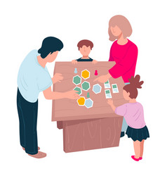Family playing board games on weekends or vector