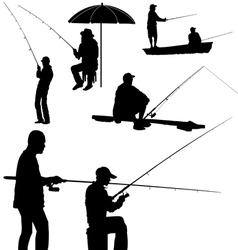 Fishing man silhouette vector
