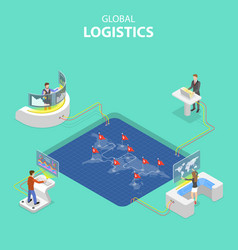 flat isometric concept global logistics vector image