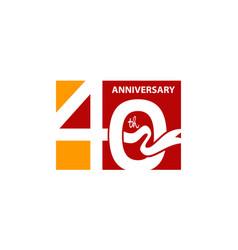 forty years gift box ribbon anniversary vector image