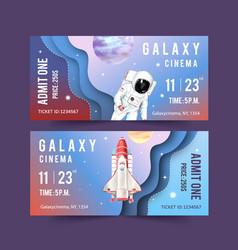 Galaxy ticket design with rocket astronaut vector