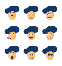 Graphic cartoon character of face icons vector