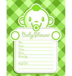 Green Baby Boy Invitation vector