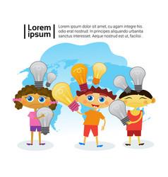 Group of smart kids holding light bulbs children vector