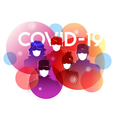 group people wearing medical masks vector image