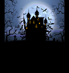 Halloween background with scary dracula castle vector