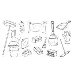 hand drawn sketch of cleanup items vector image