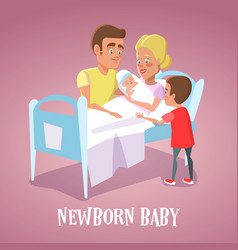 Happy mother holding newborn baby in hospital room vector