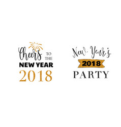 happy new year typographic emblems set text vector image
