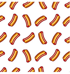 Hot dog seamless pattern buns and sausages vector