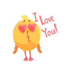 I love you funny cartoon comic chicken with heart vector
