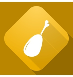 icon of Chicken Leg with a long shadow vector image