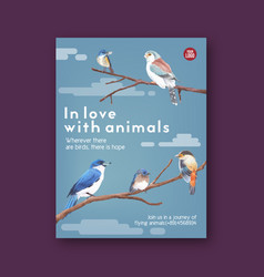 Insect and bird poster design with finch bluetail vector