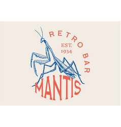 Insect logo vintage bug beetle mantis label vector