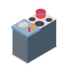Isolated cooker with red round pot vector