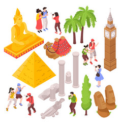 isometric travel attractions set vector image