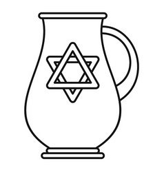 jewish jug icon outline style vector image