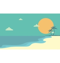 Landscape beach at sunset cartoon vector