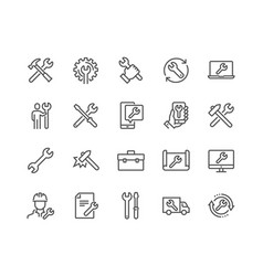 Line repair icons vector