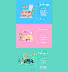 low prices and furniture on vector image