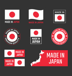 made in japan labels set japanese product emblem vector image
