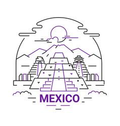Mexico - modern line travel vector