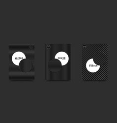minimalist black and white cover set circles vector image