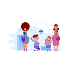 Moms lead children to school concept vector