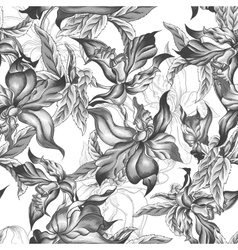 Monochrome Seamless Background with Exotic Flowers vector image
