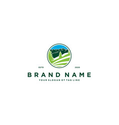 Mountain pine tree logo design vector